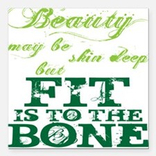 """Beauty - Green Square Car Magnet 3"""" x 3"""""""