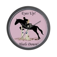 Eyes Up! Heels Down! Horse Wall Clock