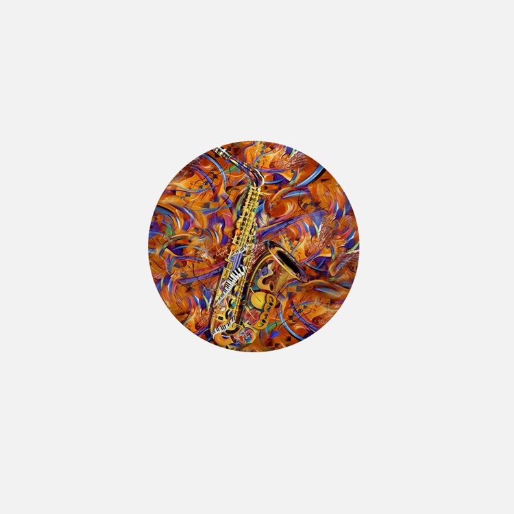 Sax In The City Jazzy Music Painting Mini Button