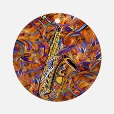 Sax In The City Jazzy Music Paintin Round Ornament