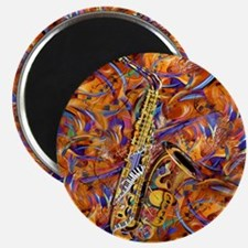 Sax In The City Jazzy Music Painting Magnet