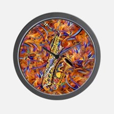 Sax In The City Jazzy Music Painting Wall Clock