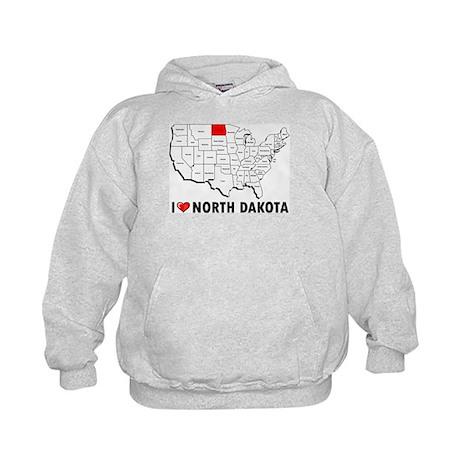 I Love North Dakota Kids Hoodie
