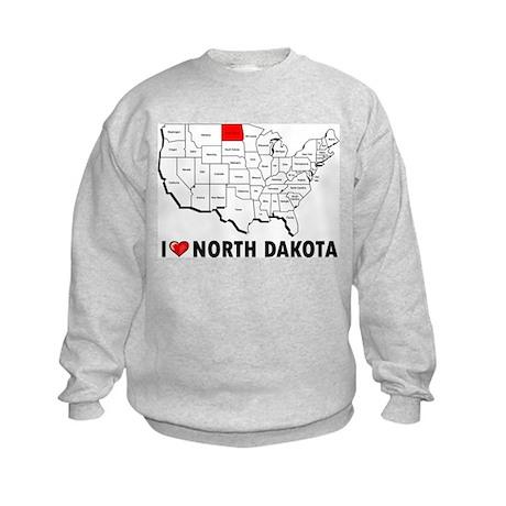 I Love North Dakota Kids Sweatshirt
