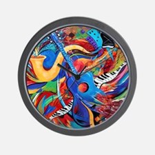 Colorful City Street Sax And Guitar Mus Wall Clock