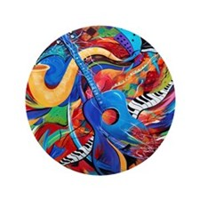 "Colorful City Street Sax And Guitar Mu 3.5"" Button"