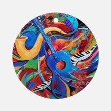 Colorful City Street Sax And Guitar Round Ornament