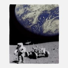 Astronaut on Moon with Earth Throw Blanket