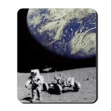 Astronaut on Moon with Earth Mousepad