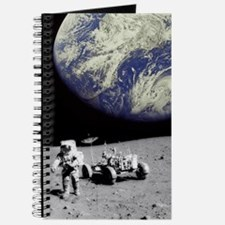 Astronaut on Moon with Earth Journal