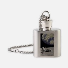 Astronaut on Moon with Earth Flask Necklace