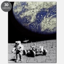 Astronaut on Moon with Earth Puzzle