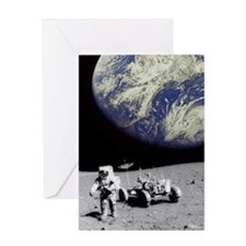 Astronaut on Moon with Earth Greeting Card