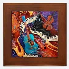 Jazz Supper Club Dreamy Guitar Piano Framed Tile
