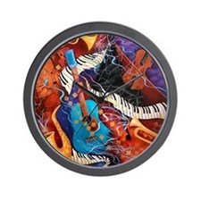 Jazz Supper Club Guitar Curvy Piano Wall Clock