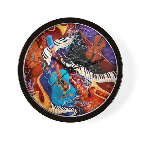 Jazz Supper Club Guitar Curvy Piano Wall Clock