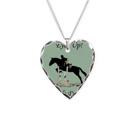 Eyes Up! Heels Down! Horse Necklace Heart Charm