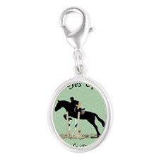 Eyes Up! Heels Down! Horse Silver Oval Charm