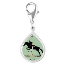 Eyes Up! Heels Down! Horse Silver Teardrop Charm