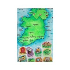 Illustrated Map of Ireland Rectangle Magnet
