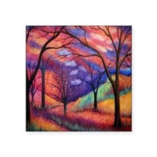 "Moon Dance Night Sunset Tre Square Sticker 3"" x 3"""