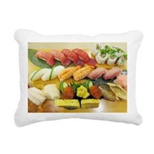 Different Types of Sushi Rectangular Canvas Pillow