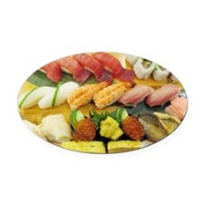 Different Types of Sushi Oval Car Magnet