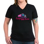 Daddy's Little Trucke Women's V-Neck Dark T-Shirt