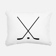 Hockey Sticks And Puck Rectangular Canvas Pillow