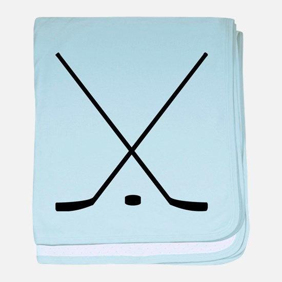 Hockey Sticks And Puck baby blanket