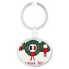 France Christmas 2 Oval Keychain