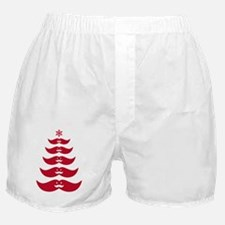Red mustache Christmas tree design Boxer Shorts