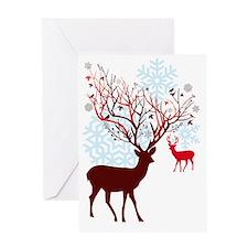 Christmas deer with tree branch antl Greeting Card