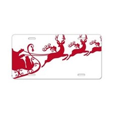 Santa with his sleigh and r Aluminum License Plate