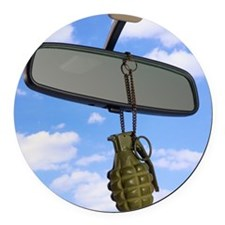 Grenade and rear view mirror Round Car Magnet