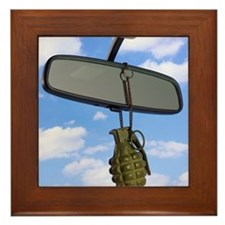 Grenade and rear view mirror Framed Tile
