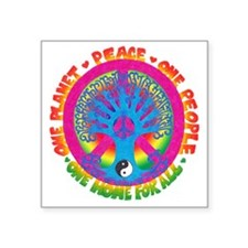 """One Planet One People Square Sticker 3"""" x 3"""""""