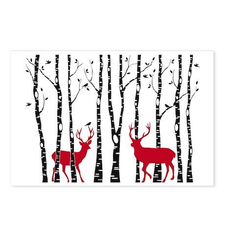 Christmas deers in birch Postcards (Package of 8)