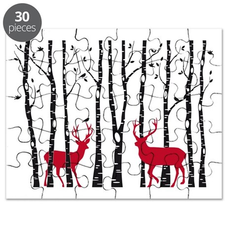 Christmas deers in birch tree forest Puzzle