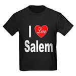 I Love Salem (Front) Kids Dark T-Shirt