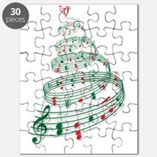 Christmas tree with music notes and heart Puzzle