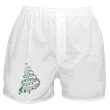 Christmas tree with music notes and h Boxer Shorts