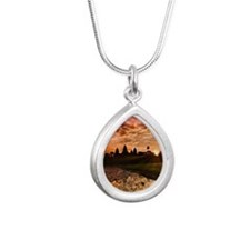Angkor wat at sunrise Silver Teardrop Necklace