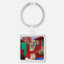Dog Holiday Ornament Square Keychain