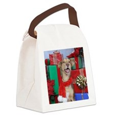 Dog Holiday Ornament Canvas Lunch Bag