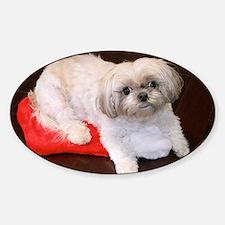 Dog Holiday Ornament Sticker (Oval)