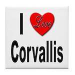 I Love Corvallis Tile Coaster