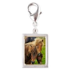 Horses being curious Silver Portrait Charm