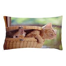Kittens in basket. Pillow Case