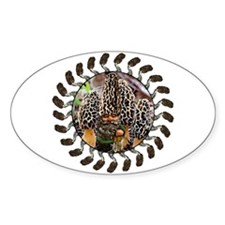 morel and gnome art Oval Decal